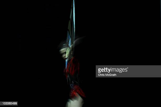 Elektra Markogiannakis competes during the Rhythmic AllAround competition on day three of the 2010 Visa Gymnastics Championships at Chase Arena on...