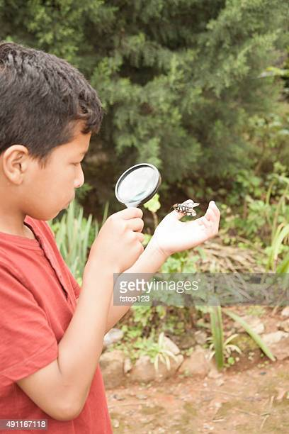 Elementary age boy enjoys discovering nature. Magnifying glass.