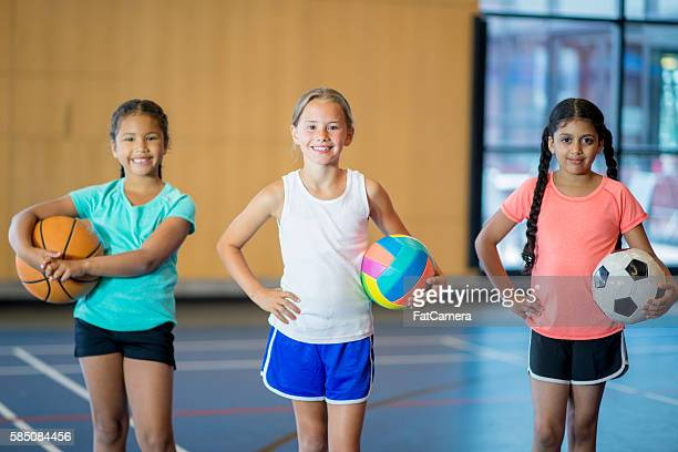 Elementary Age Girls Playing Sports
