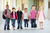 Group Of Elementary Age Schoolchildren Standing Outside School Building