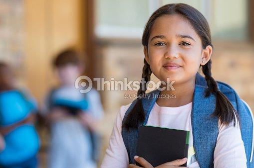 Elementary girl at school : Stock Photo