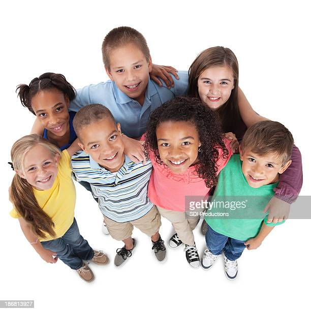 Elementary kids looking up, on white background