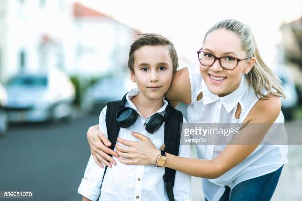 Elementary school boy and his mother