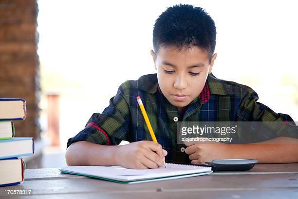 Elementary school student doing homework