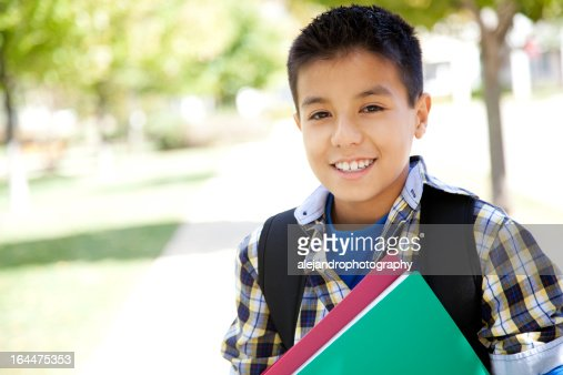 Elementary school student smiling