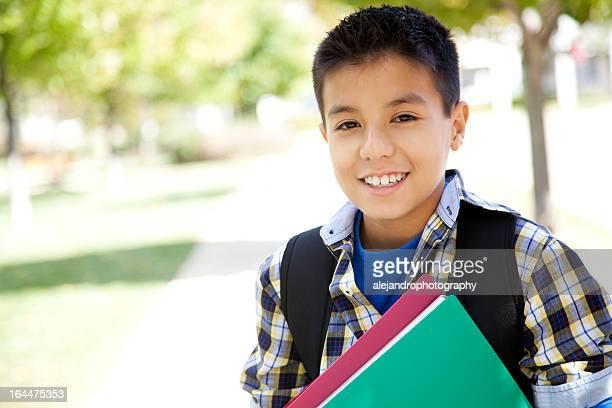 Elementary school student smiling