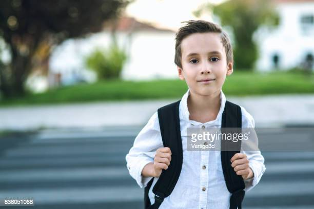 Elementary schoolboy with backpack