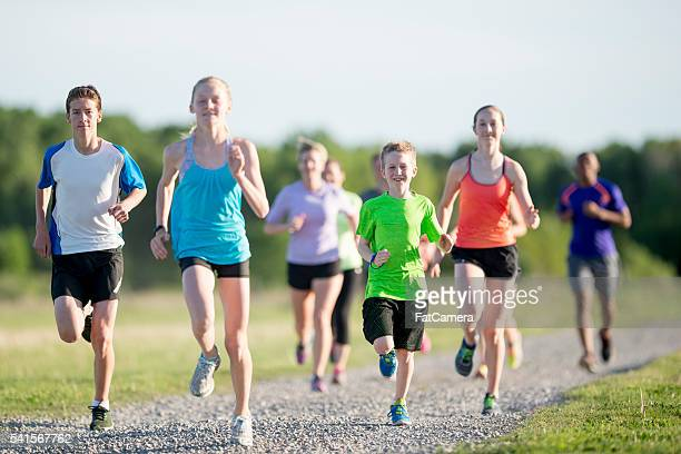 Elementary Students Running Outside