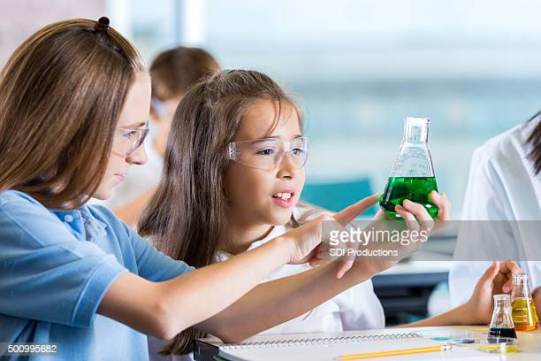 Elementary students using chemistry set during science class