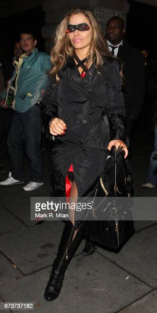 Elen Rives departs Caprice Bourret's 40th birthday and Halloween party at the Cuckoo Club on October 27 2011 in London England