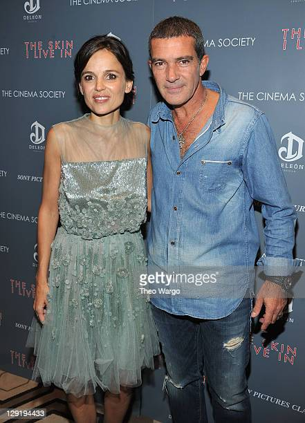 Elena Anaya and Antonio Banderas attend the Cinema Society DeLeon Tequila screening of 'The Skin I Live In' at the Tribeca Grand Hotel on October 13...