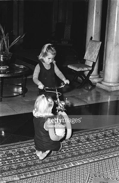 Elena and Cristina daughters of the princes Juan Carlos of Borbon and Sofia of Greece in the Zarzuela Palace Madrid Spain