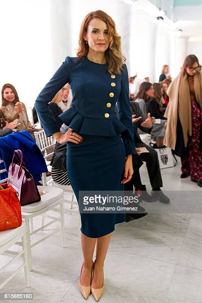 Elena Ballesteros is seen attending the Silvia Tcherassi show during her new collection presentation at Neptuno Palace on October 19 2016 in Madrid...