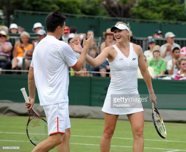 Elena Baltacha and Ken Skupski of Great Britain celebrating their victory over Andrea Hlavackova of the Czech Republic and Michael Mertinak of...
