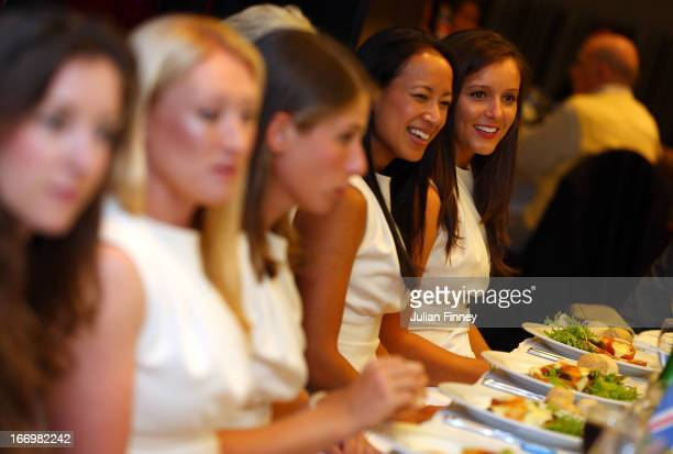 Elena Baltacha Johanna Konta Anne Keothavong and Laura Robson of Great Britain at the team dinner during previews ahead of the Fed Cup World Group...