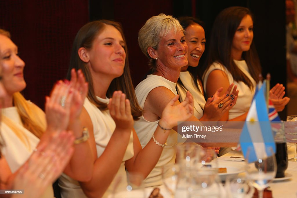 Elena Baltacha, Johanna Konta, Judy Murray, captain of Great Britain, Anne Keothavong and Laura Robson of Great Britain at the team dinner during previews ahead of the Fed Cup World Group Two Play-Offs between Argentina and Great Britain at Parque Roca on April 18, 2013 in Buenos Aires, Argentina.