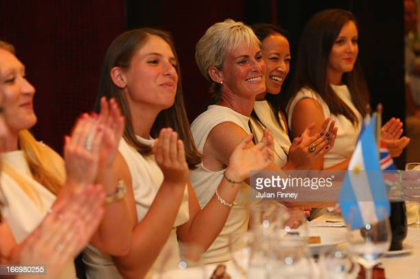 Elena Baltacha Johanna Konta Judy Murray captain of Great Britain Anne Keothavong and Laura Robson of Great Britain at the team dinner during...
