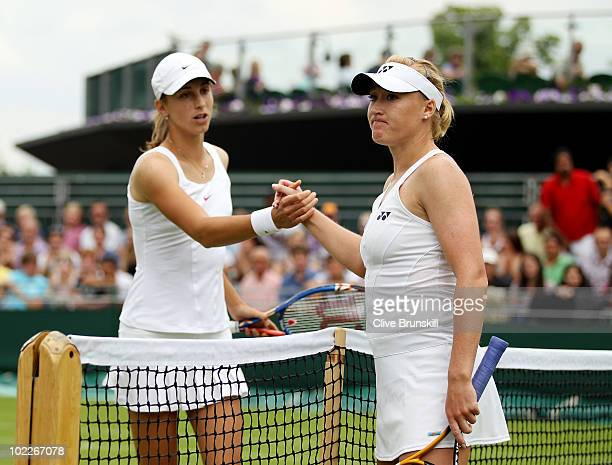 Elena Baltacha of Great Britain after losing her first round match to Petra Martic of Croatia on Day One of the Wimbledon Lawn Tennis Championships...