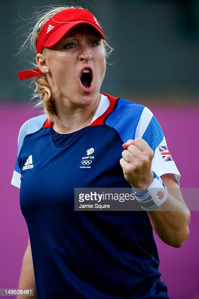 Elena Baltacha of Great Britain celebrates a point during the Women's Singles Tennis match against Ana Ivanovic of Serbia on Day 3 of the London 2012...