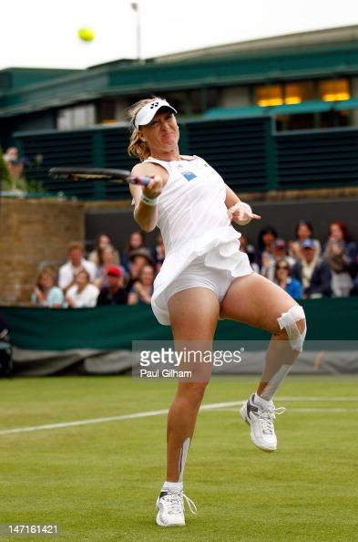 Elena Baltacha of Great Britain celebrates match point after winning her Ladies' Singles first round match against Karin Knapp of Italy on day two of...
