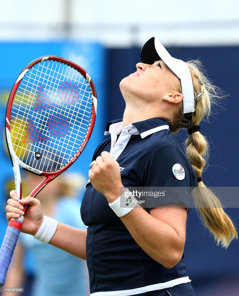 <a gi-track='captionPersonalityLinkClicked' href=/galleries/search?phrase=Elena+Baltacha&family=editorial&specificpeople=210830 ng-click='$event.stopPropagation()'>Elena Baltacha</a> of Great Britain celebrates match point against Kristyna Pliskova of Czech Republic on day four of the AEGON International tennis tournament at Devonshire Park on June 18, 2013 in Eastbourne, England.