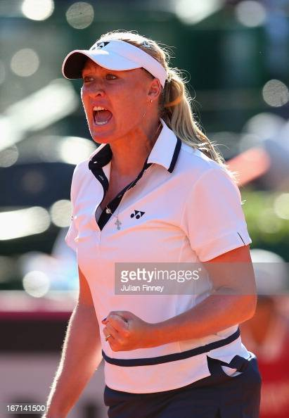 Elena Baltacha of Great Britain celebrates winning a game in her match against Maria Irigoyen of Argentina during day two of the Fed Cup World Group...