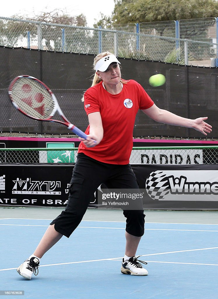 <a gi-track='captionPersonalityLinkClicked' href=/galleries/search?phrase=Elena+Baltacha&family=editorial&specificpeople=210830 ng-click='$event.stopPropagation()'>Elena Baltacha</a> of Great Britain during training ahead of the Fed Cup Group B matches in the Euro/Africa Zone Group 1 at the Municipal Tennis Club on February 5, 2013 in Eilat, Israel.