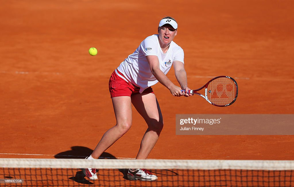 Elena Baltacha of Great Britain plays a volley in a practice session during previews ahead of the Fed Cup World Group Two Play-Offs between Argentina and Great Britain at Parque Roca on April 18, 2013 in Buenos Aires, Argentina.