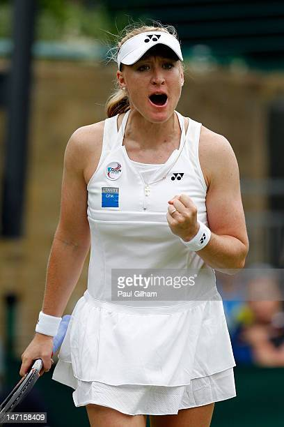 Elena Baltacha of Great Britain reacts during her Ladies' Singles first round match against Karin Knapp of Italy on day two of the Wimbledon Lawn...