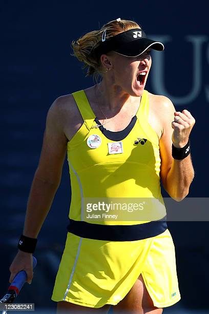 Elena Baltacha of Great Britain reacts to a play against Jamie Hampton of the United States during Day Two of the 2011 US Open at the USTA Billie...