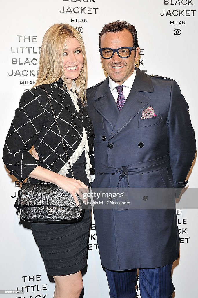 Elena Barolo and Alessandro Martorana attend Chanel The Little Black Jacket - Karl Lagerfeld Photography Exhibition Dinner Party on April 4, 2013 in Milan, Italy.