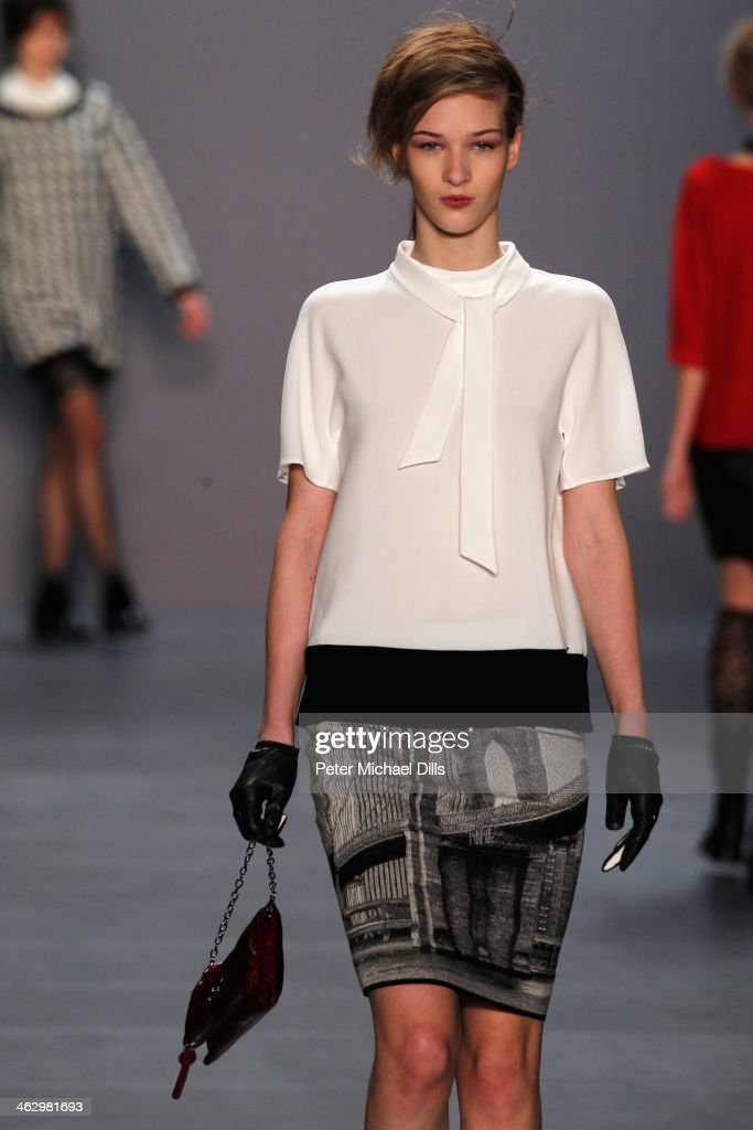 Elena Bartels walks the runway at the Marc Cain show during Mercedes-Benz Fashion Week Autumn/Winter 2014/15 at Brandenburg Gate on January 16, 2014 in Berlin, Germany.