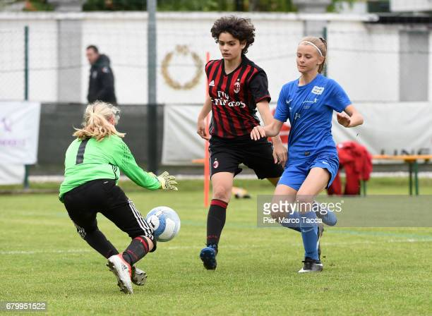 Elena Belli of AC Milan Women Under 12 in action during the match between AC Milan and SSV Brixen obi for Danone Nations Cup 2017 on May 7 2017 in...