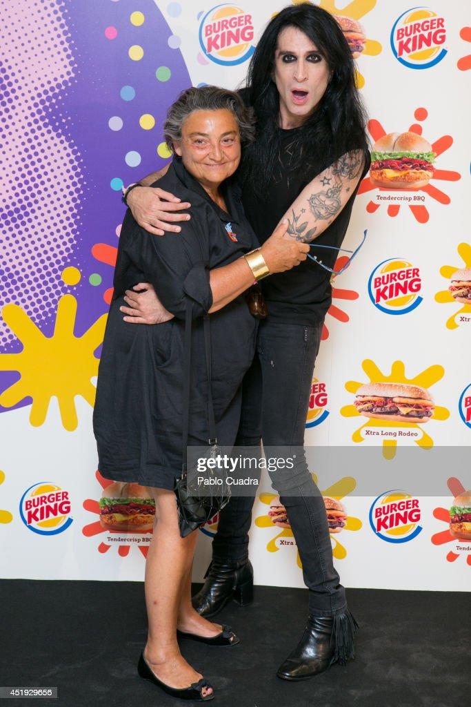 Elena Benarroch attends Mario Vaquerizo's Birthday at a Burger King restaurant on July 9 2014 in Madrid Spain