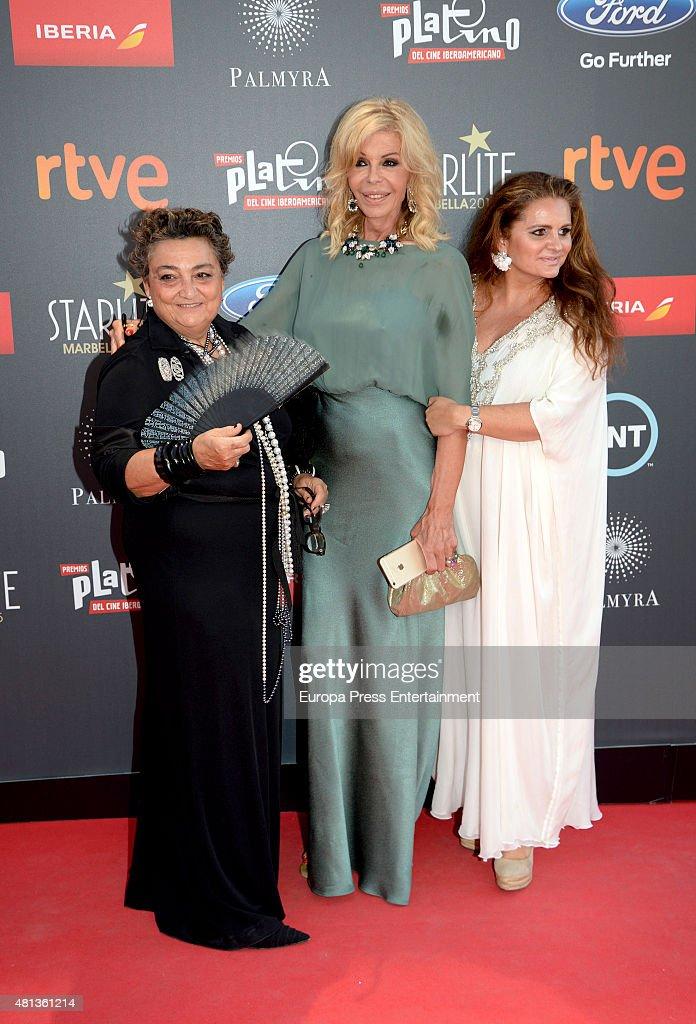 Elena Benarroch Bibiana Fernandez and Sandra GarciaSanjuan attend Platino Awards Gala on July 18 2015 in Marbella Spain