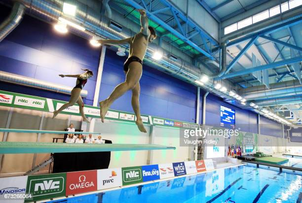 Elena Bertocchi and Maicola Verzotto of Italy compete in the Mixed 3m Synchro Final during the 2017 FINA Diving World Series at the Windsor...