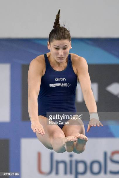 Elena Bertocchi competes in Women's 1m springboard Final during the 2017 Indoor Diving Italian Championships
