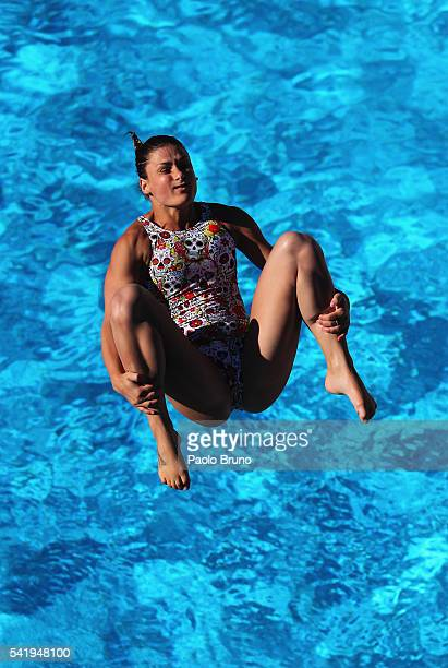 Elena Bertocchi of Italy competes in the Women 3m Springboard Final during the Italian Diving Champioships at Piscine del Foro Italico on June 21...