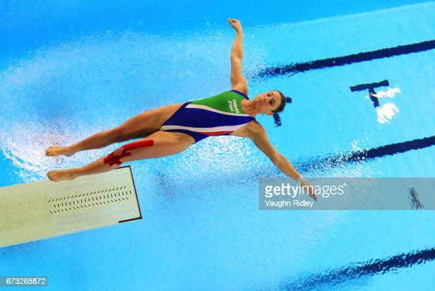 Elena Bertocchi of Italy competes in the Women's 3m Semifinal A during the 2017 FINA Diving World Series at the Windsor International Aquatic and...
