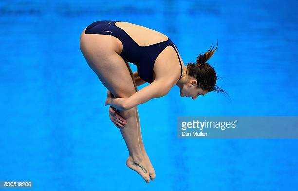 Elena Bertocchi of Italy competes in the Womens Diving 1m Springboard Preliminary Round on day three of the LEN European Swimming Championships at...
