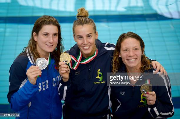 Elena Bertocchi Tania Cagnotto and Maria Elisabetta Marconi show their medals after the Women's 1m springboard Final during the 2017 Indoor Diving...