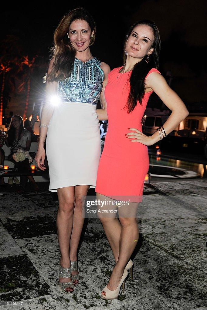 Elena Boyko and Ekaterina Vinkovskaya attend Niche Media Party Hosted By Zoe Saldana on December 6, 2013 in Miami Beach, Florida.