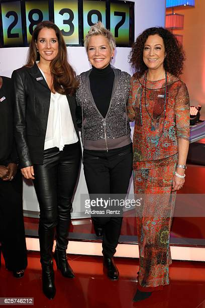 Elena Bruhn Inka Bause and Barbara Wussow are seen in the studio of the RTL Telethon TV show on November 25 2016 in Cologne Germany The telethon is...