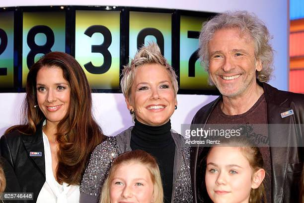 Elena Bruhn Inka Bause and Thomas Gottschalk are seen in the studio of the RTL Telethon TV show on November 25 2016 in Cologne Germany The telethon...