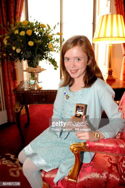 Elena Byrne with her gold Blue Peter badge who has raised funds and writes poetry for sufferers of cystic fibrosis during a reception marking the...