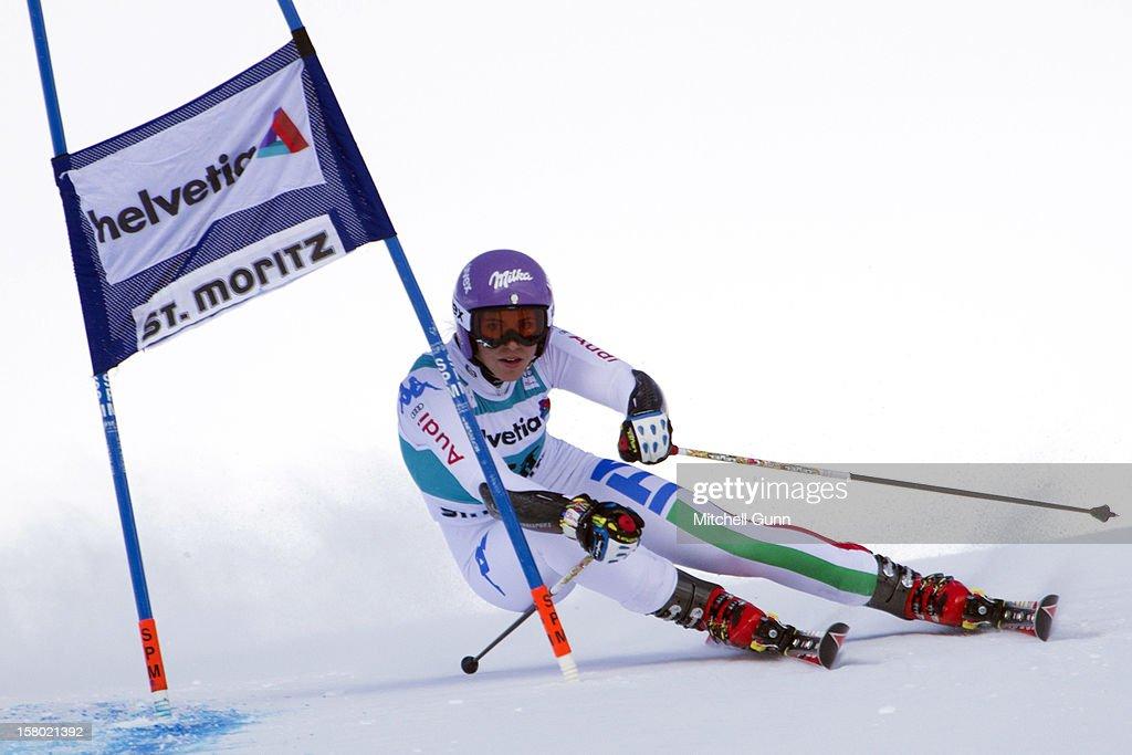 Elena Curtoni of italy races down the piste during the Audi FIS Alpine Ski World Giant Slalom race on December 9 2012 in St Moritz, Switzerland.