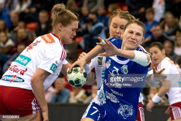Elena Dache in the Women's EHF Champions league match between Larvik HK and CSM Bucuresti on February 25 2017 in Larvik Norway