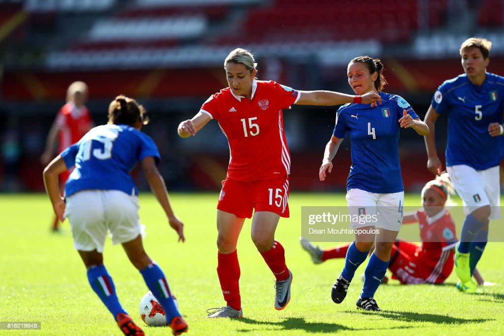 Elena Danilova of Russia scores opening goal during the Group B match between Italy and Russia during the UEFA Women's Euro 2017 at Sparta Stadion on July 17, 2017 in Rotterdam, Netherlands.