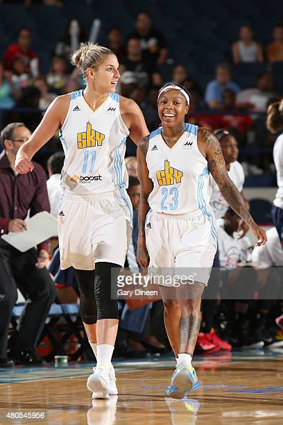 Elena Delle Donne and Cappie Pondexter of the Chicago Sky during the game aganist the Connecticut Sun on July 12 2015 at Allstate Arena in Rosemont...