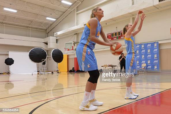 Elena Delle Donne and Courtney Vandersloot of the Chicago Sky shoot around behind the scenes during WNBA Media Day 2016 on May 9 2016 at the Sachs...